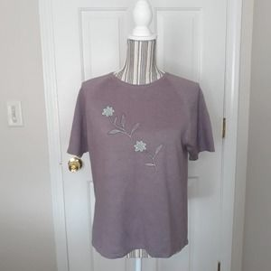 Teddi Embroidered Knit top lilac flower